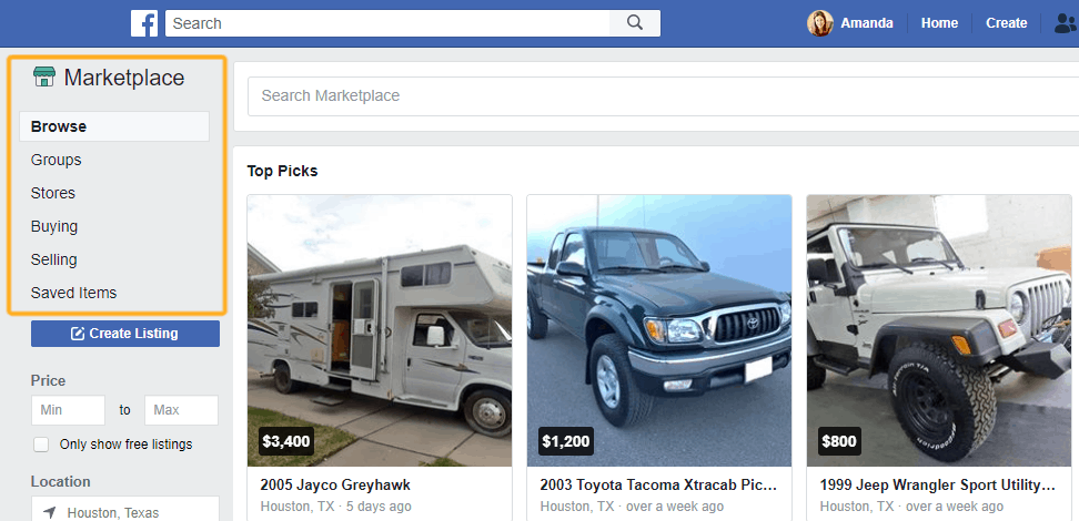 image of marketplace on Facebook to find selling/buying groups