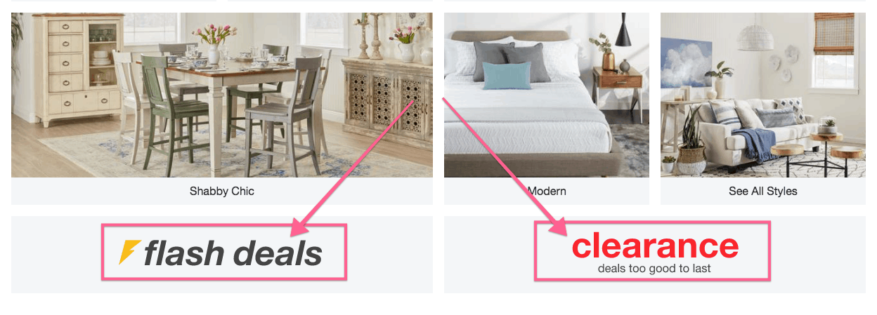 image showing where to find flash deals and clearance sections for cheap furniture online