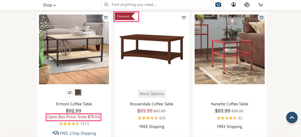image of birch website showing open box and closeout deals for cheap furniture online