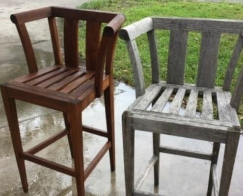 image of two teak chairs, one pressure washed and one not