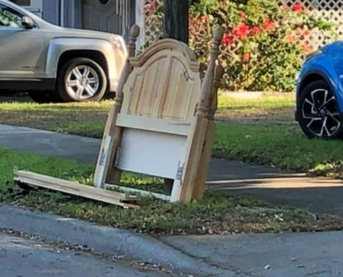 image of quality bed frame furniture found used on curbside