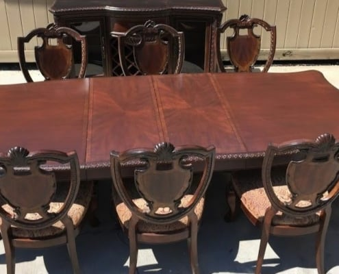 image of beautiful, quality dining room set in driveway