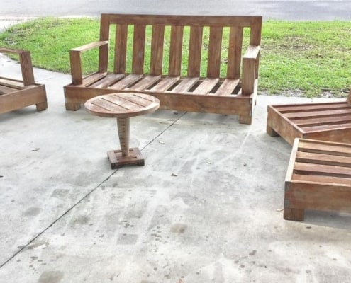 image of quality teak furniture that's been flipped