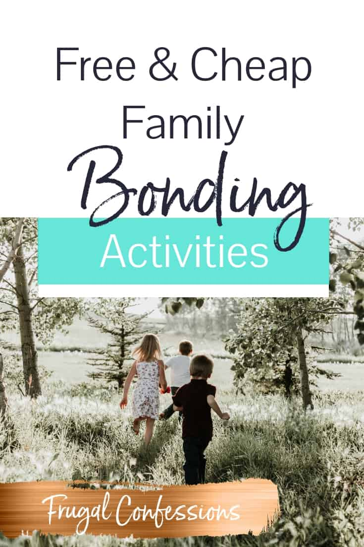 """group of 3 kids running through a meadow with text overlay """"free and cheap family bonding activities"""""""