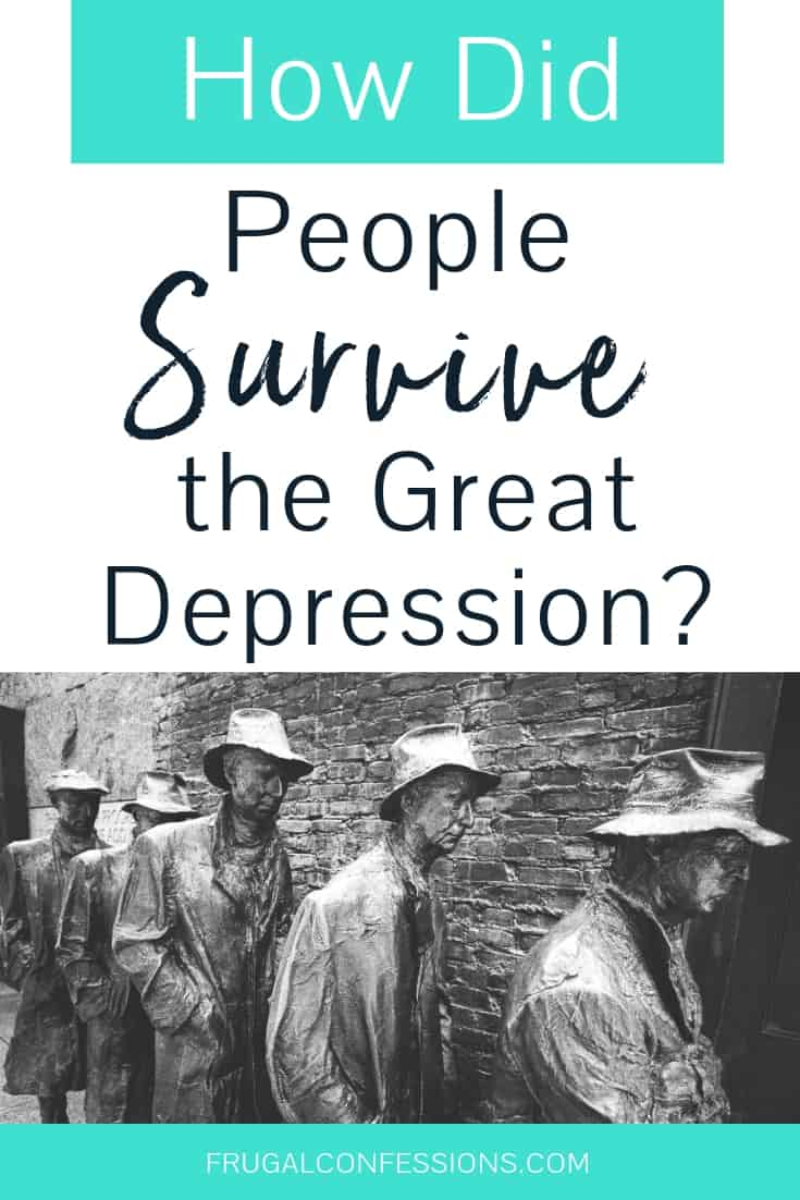 """statues of men standing in food line during great depression with text overlay """"how did people survive the great depression?"""""""
