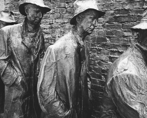 statues of men standing in food line during great depression
