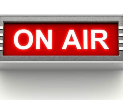 on air sign, on white background