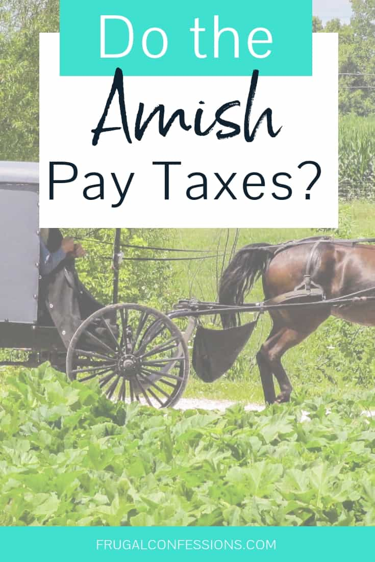 "amish buggy on the road in the country with text overlay ""do the amish pay taxes?"""