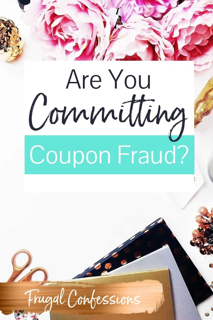 """white desktop with pink flowers and notebooks with text overlay """"are you committing coupon fraud??"""