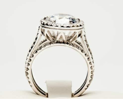 gorgeous, diamond engagement ring on white background