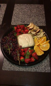 fruit and fruit dip tray for the superbowl