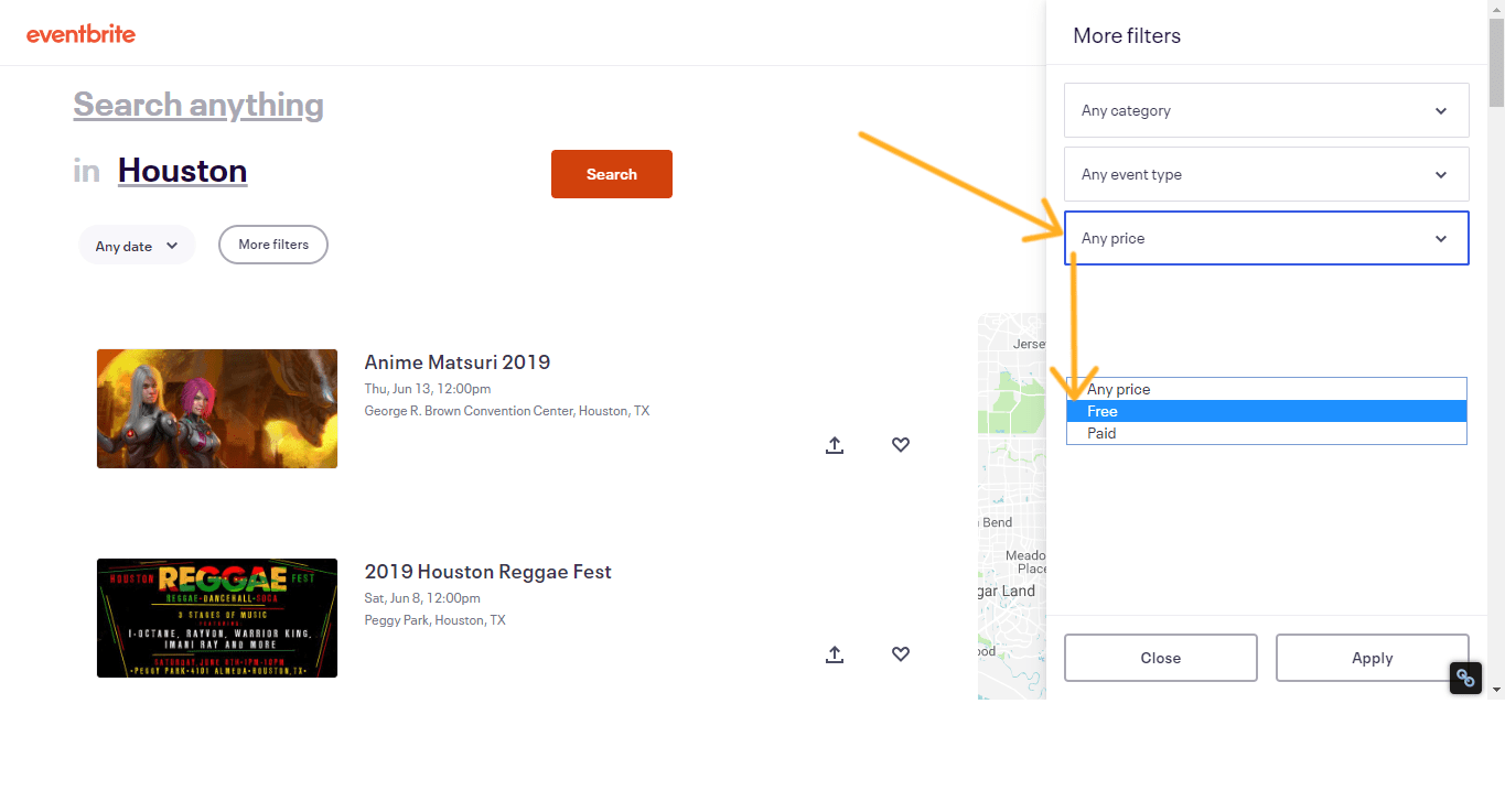 screenshot of eventbrite with arrow pointing to price and then free section