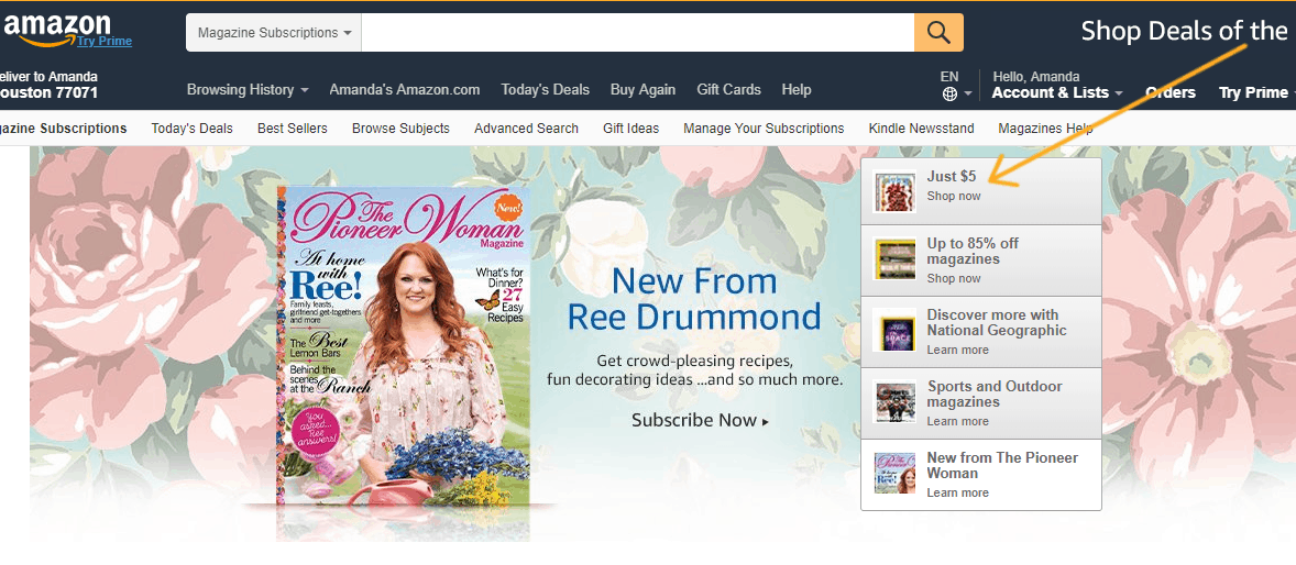 screenshot of amazon magazine subscriptions area with arrow pointing to $5 section