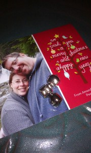 picture of our Christmas card with jingle bells on it