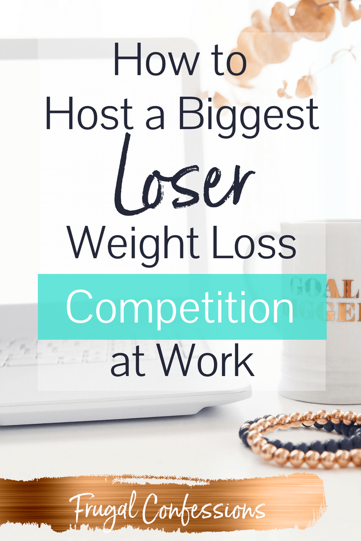 "white desktop with goal-digger, coffee mug with text overlay ""how to host a biggest loser weight loss competition at work"""