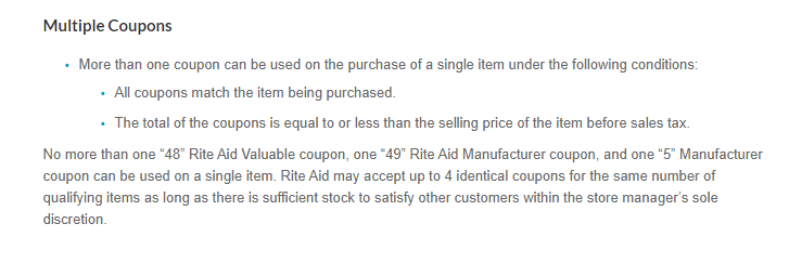 screenshot of RiteAid's extreme couponing policy