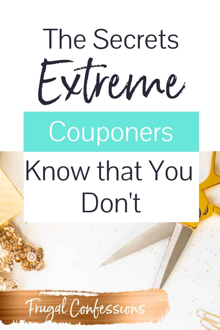 "white desktop with scissors for extreme couponing with text overlay ""the secrets extreme couponers know that you don't"""