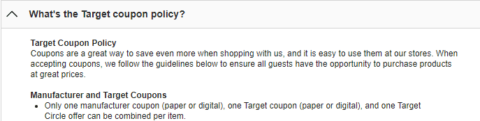 screenshot of Target's extreme couponing policy