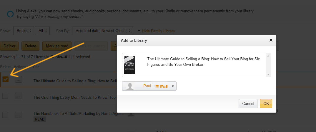 screenshot with arrow pointing to a book, and pop up with my husband's device on it