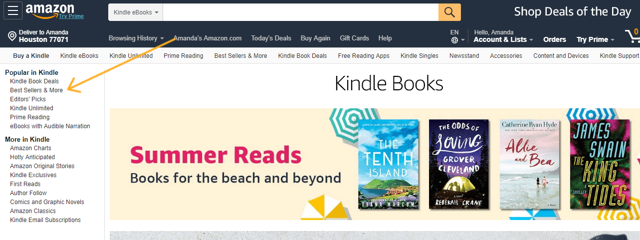 screenshot with arrow pointing to bestsellers list