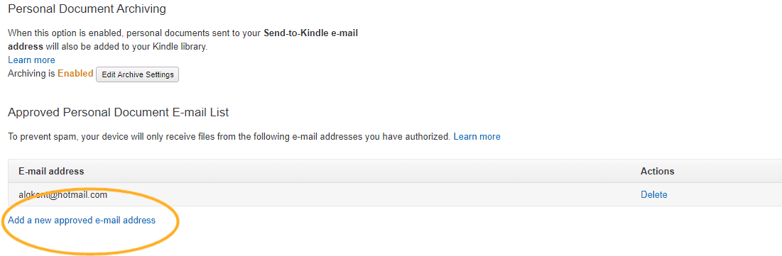 screenshot with circle around where to add approved email address to send ebooks