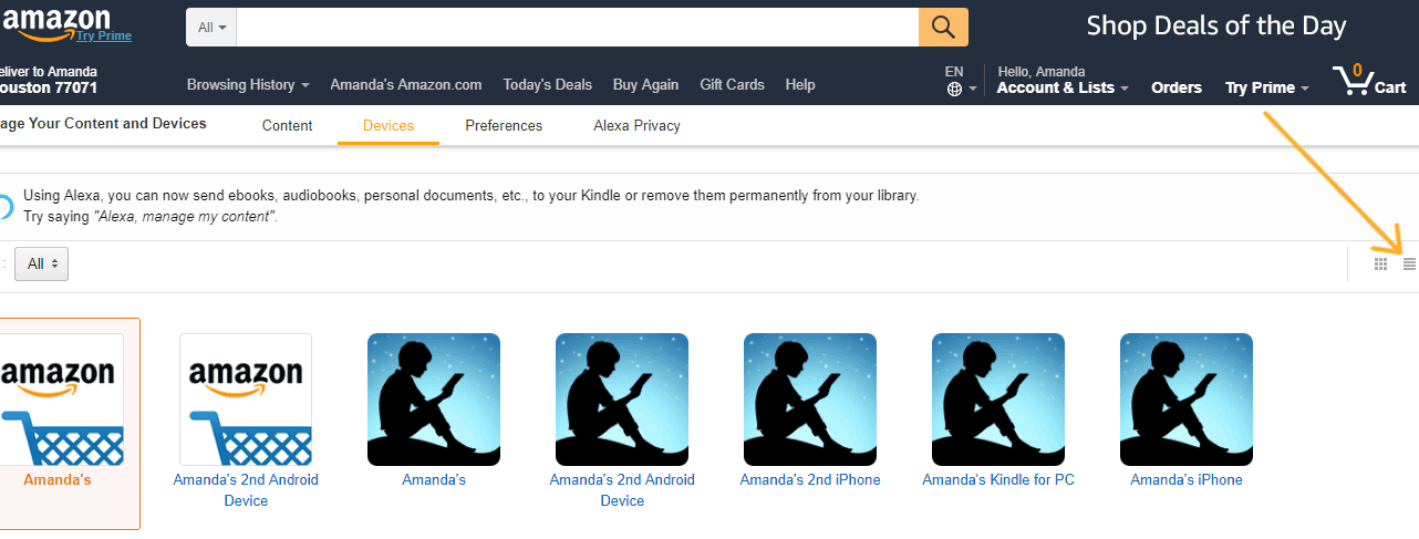 screenshot of amazon kindle devices, grid shot