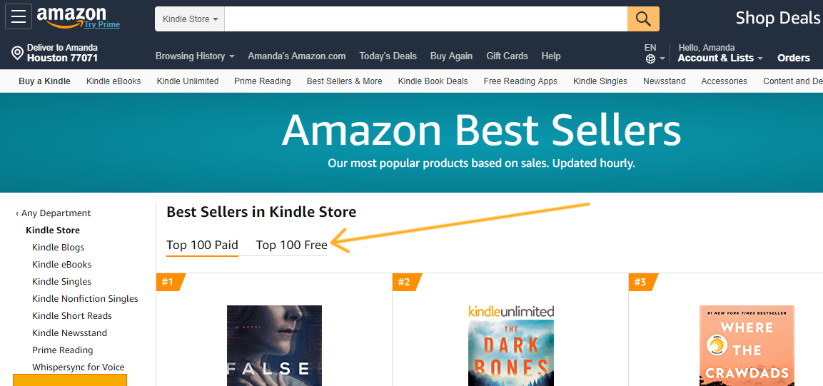 screenshot of arrow pointing to Top 100 Free List