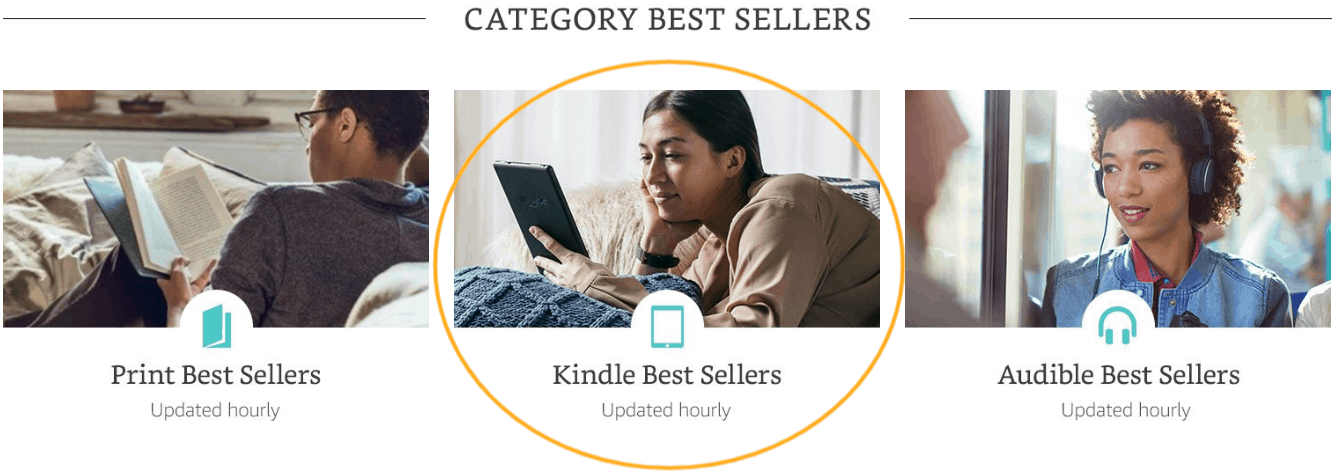 screenshot with circled Kindle Best Sellers Category, updated hourly