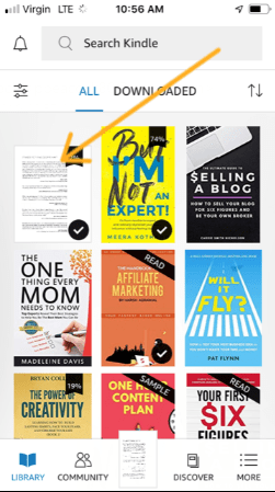 screenshot with arrow pointing to free eBook uploaded to kindle app
