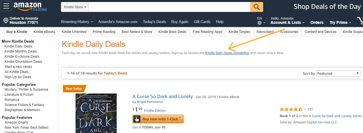 screenshot of where to sign up for kindle amazon daily deals newsletter