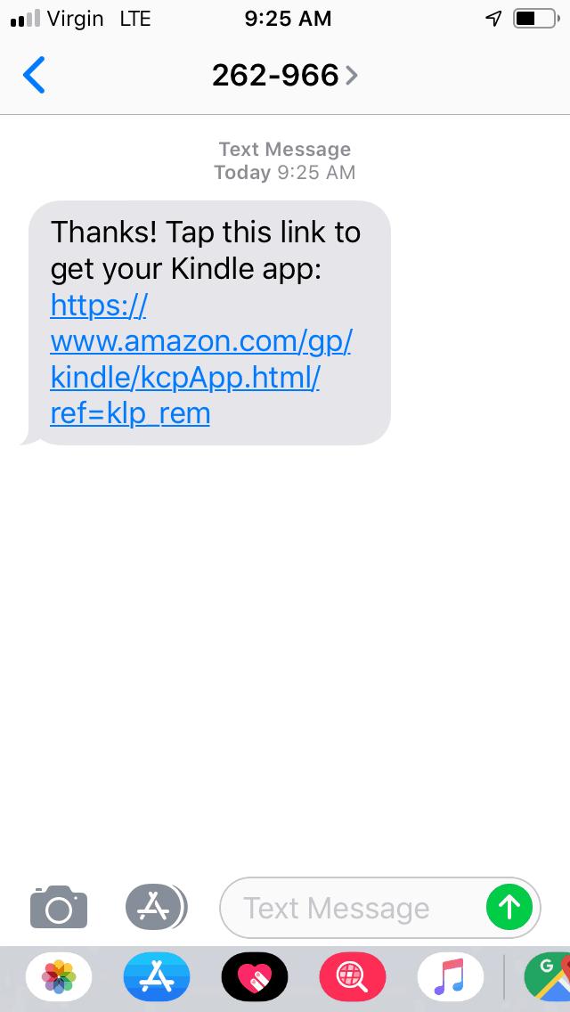 smart phone screenshot showing link to get kindle app