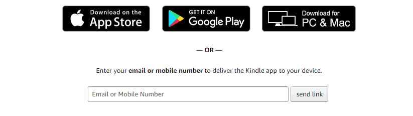 screenshot of three choices to download kindle app, or to input your mobile number, on amazon