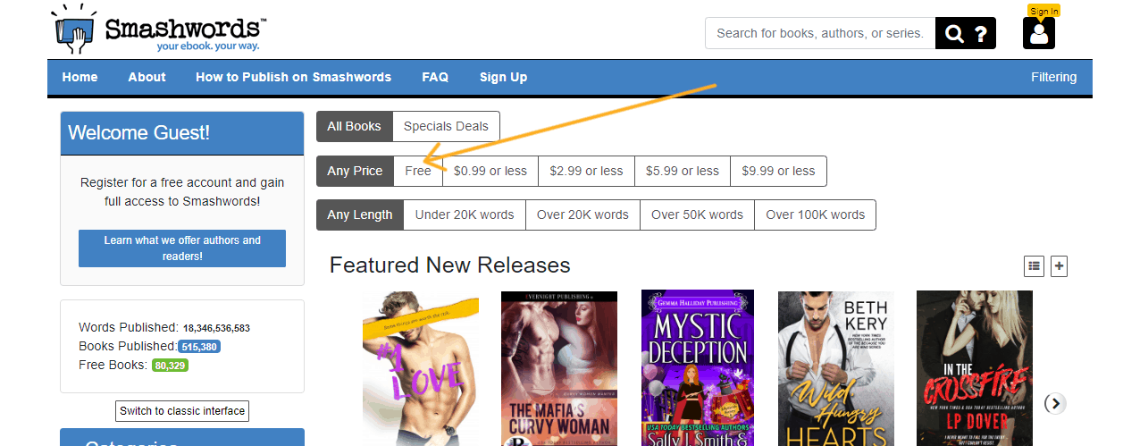screenshot of smashwords homepage with arrow pointing to free ebooks section