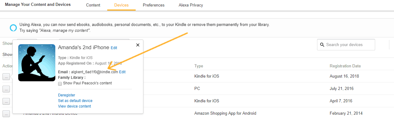 screenshot with arrow pointing to kindle email address