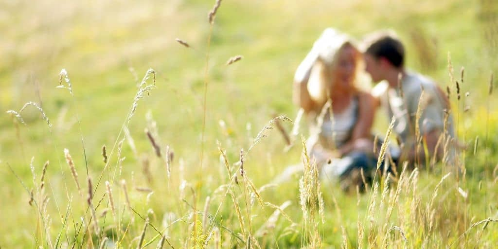 blurry shot of a couple in a beautiful meadow, talking