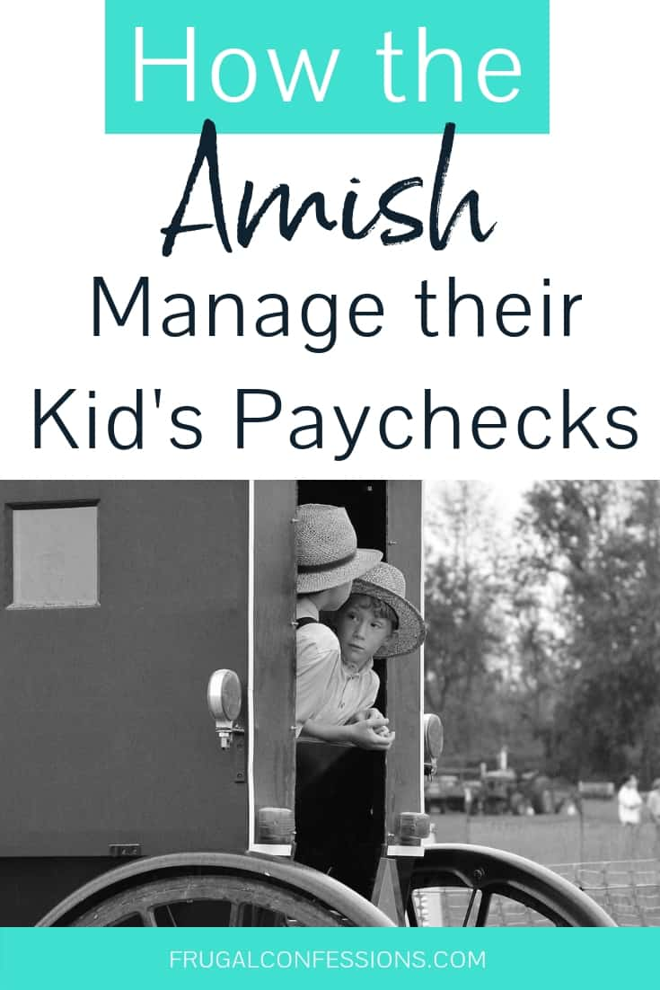 "two Amish boys hanging out the back of a horse and buggy, talking, with text overlay ""how the amish manage their kid's paychecks"""