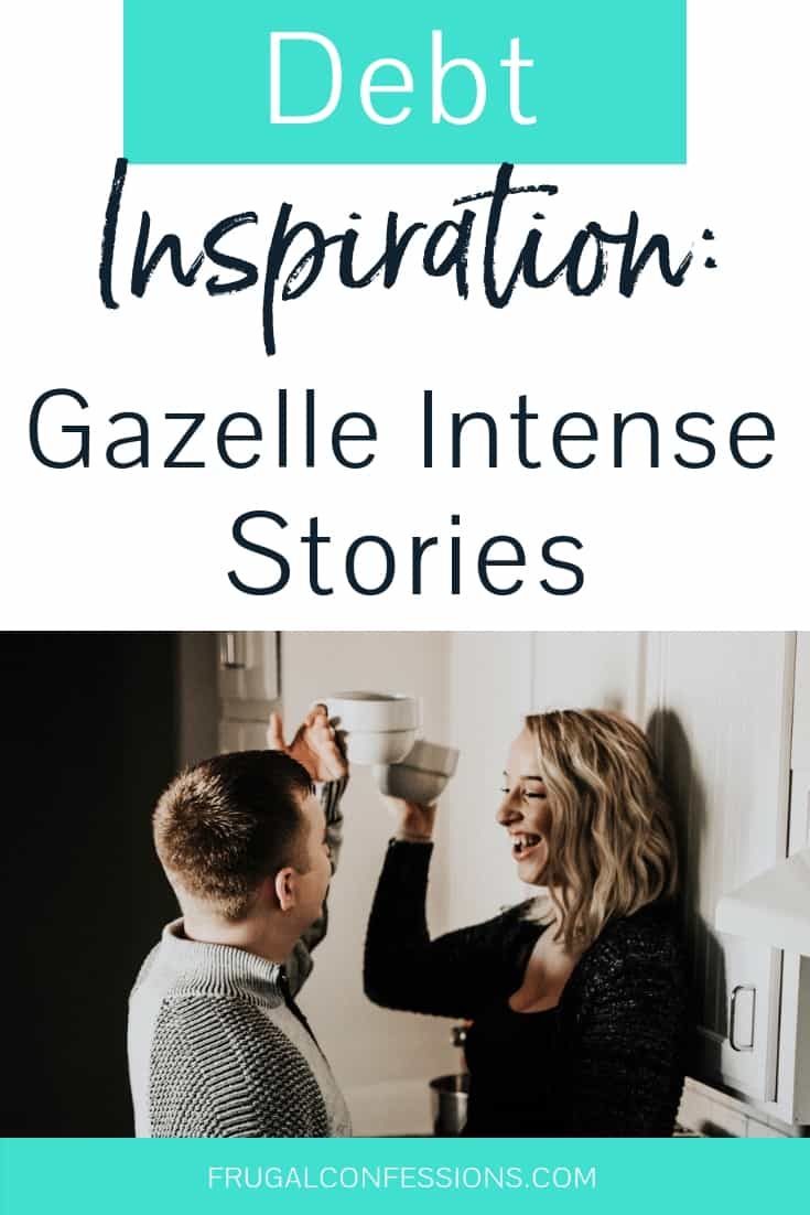 "couple in kitchen, woman on counter, toasting each other smiling with text overlay ""debt inspiration: gazelle intense stories"""