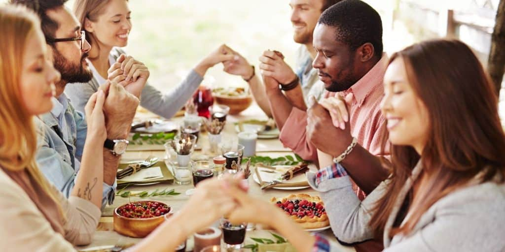 family gathered for thanksgiving feast