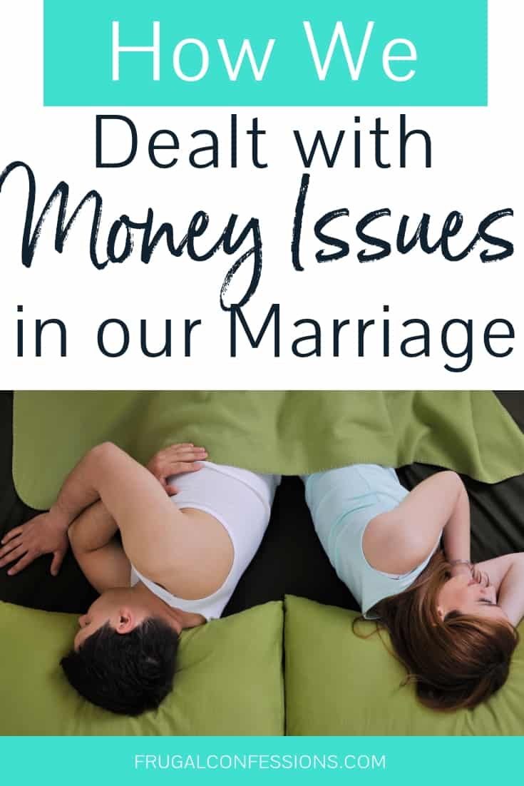 """couple sleeping with faces opposite each other with text overlay """"how we dealt with money issues in our marriage"""""""
