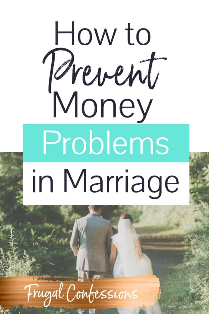 "a bride and groom walking in forest with text overlay ""how to prevent money problems in marriage"""