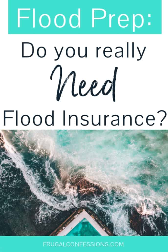 """pool on edge of green ocean with sea foam with text overlay """"flood prep: do you really need flood insurance?"""""""