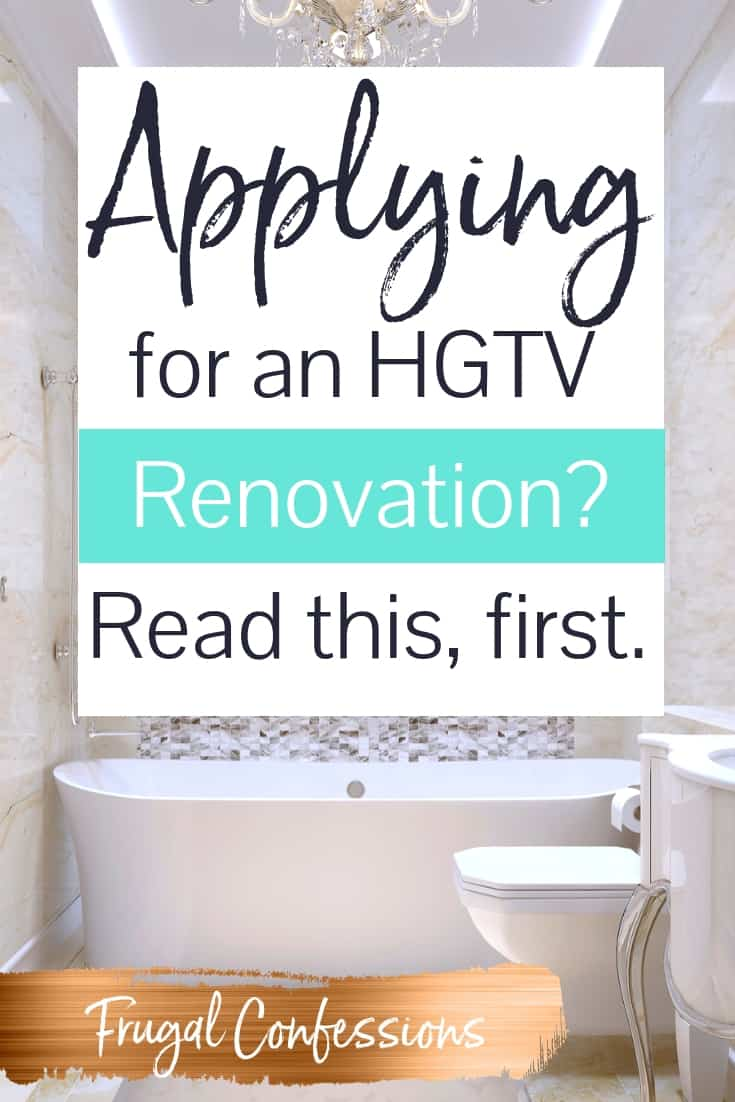 "bath tub and european toilet with a mosaic tile background with text overlay ""applying for an HGTV Renovation? Read this, first."""
