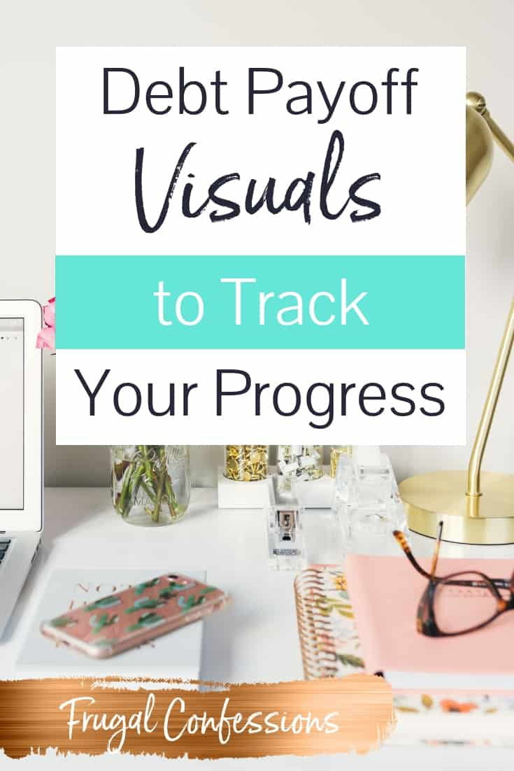 """white desk with laptop open, fresh flowers, with text overlay """"debt payoff visuals to track your progress"""""""