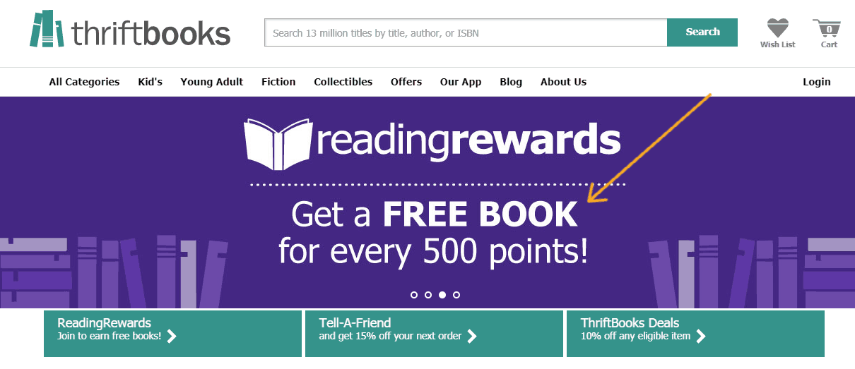 screenshot of Thriftbooks homepage, with arrow pointing to free book deal with 500 points