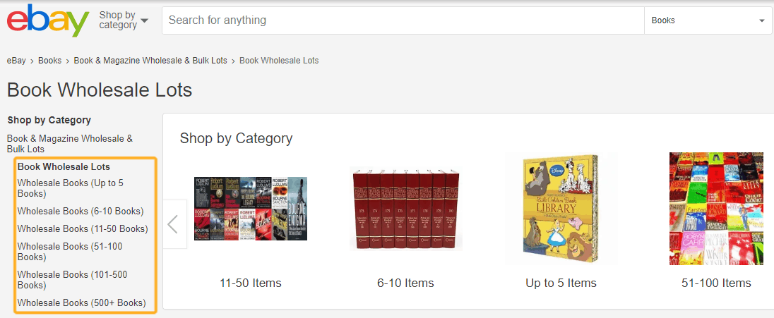 screenshot showing used book lots sales on eBay