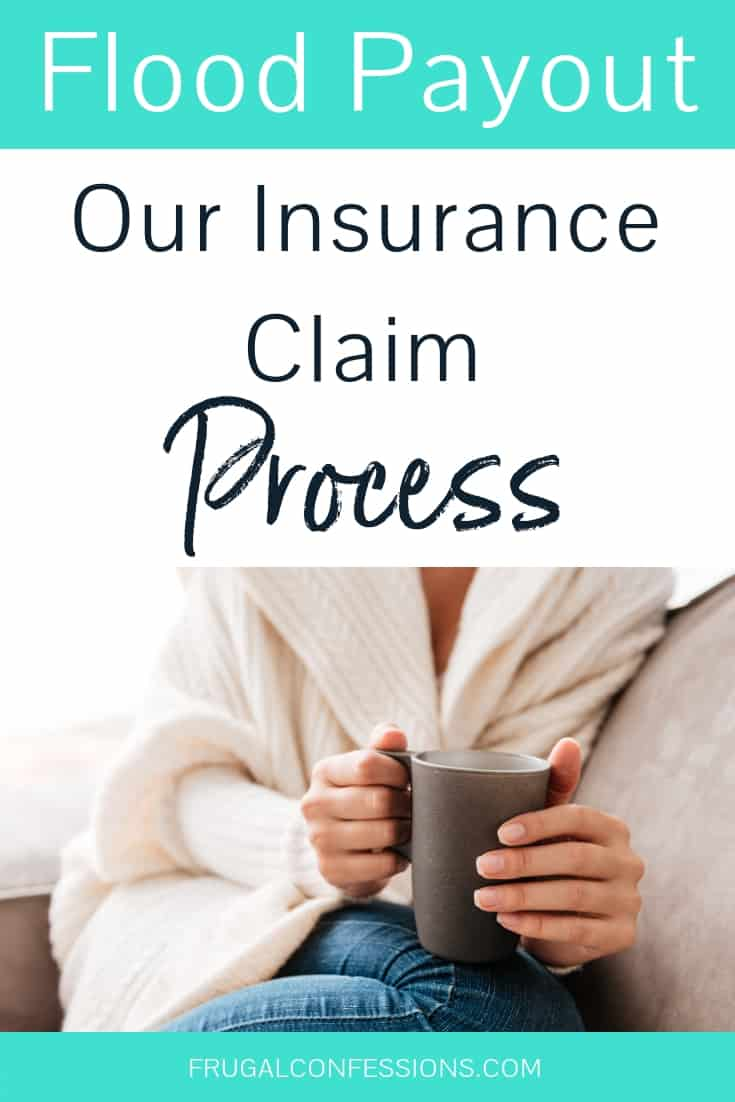 "closeup of woman with cup of coffee sitting on sofa at home with text overlay ""flood payout: Our insurance claims process"""