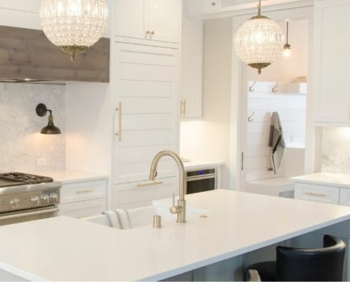 beautifully decluttered kitchen and desktop, white