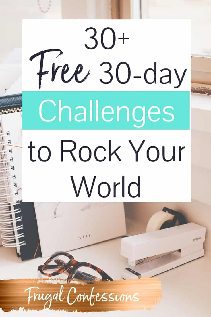 "pink marble desktop with glasses, books, and stapler with text overlay ""30+ free 30 day challenges to rock your world"""