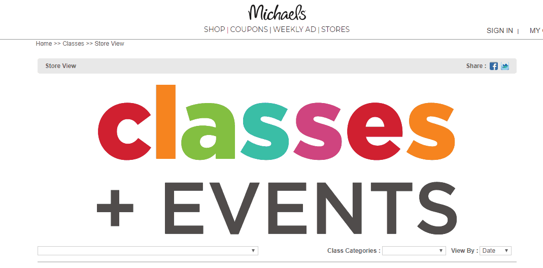 screenshot of Michael's craft store classes and events section