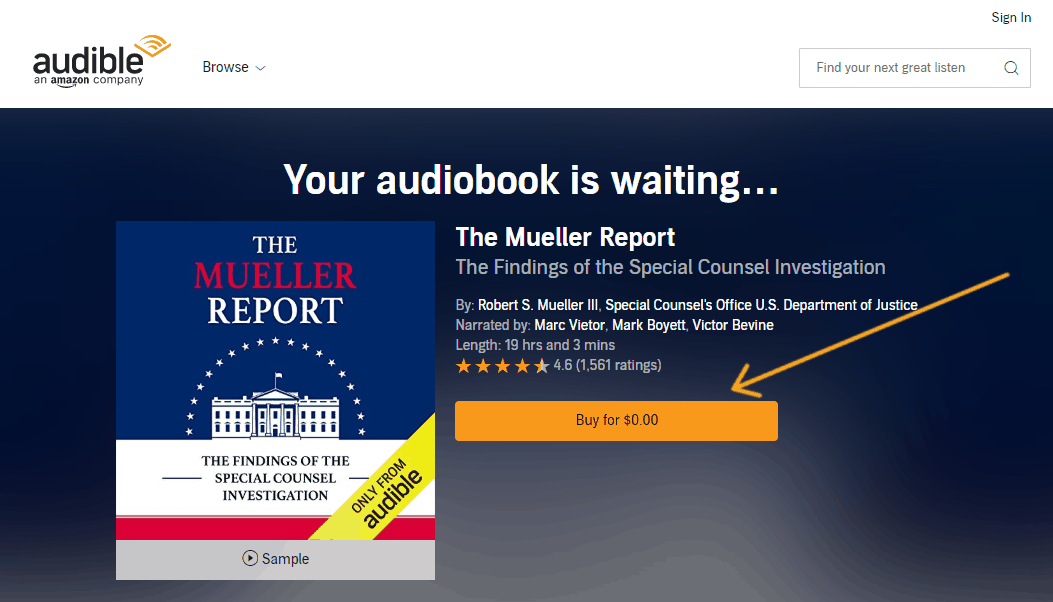 "screenshot with arrow pointing to ""Buy now"" on a free audiobook"